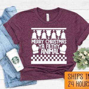 Merry Christmas Ya Filthy Animal Oversized T Shirt